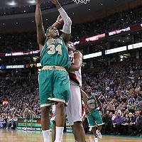 09 March 2012: Boston Celtics small forward Paul Pierce (34) goes to the basket against Portland Trail Blazers small forward Nicolas Batum (88) during the Boston Celtics 104-86 victory over the Portland Trail Blazers at the TD Banknorth Garden, Boston, Massachusetts, USA.