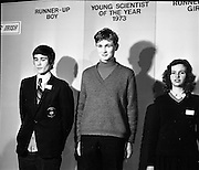 1973.5/1/73.1/5/73.5th January 1973 .The Aer Lingus Young Scientist Exhibition at the RDS, Dublin ..Tadhg O'Beaglaoich (centre) from North Monastery CBS Cork who was the winner of the young scientist of the year competition and the two runners up. .