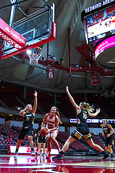 NORMAL, IL - October 30: Lexi Wallen is double teamed under the hoop by Kenzie Guese and Devin Fuhring during a college women's basketball game between the ISU Redbirds and the Lions on October 30 2019 at Redbird Arena in Normal, IL. (Photo by Alan Look)