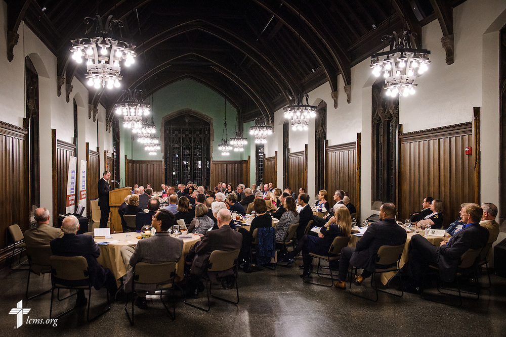 "The Rev. Dr. Daniel Harmelink, CHI executive director, speaks during the ""Trumpeting the Treasures"" Concordia Historical Institute 42nd annual awards banquet on Thursday, Nov. 10, 2016, at Concordia Seminary, St. Louis. LCMS Communications/Erik M. Lunsford"