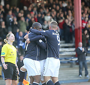 Christian Nade is congratulated by team-mates after opening the scoring - Dundee v Greenock Morton, SPFL Championship at <br /> Dens Park<br /> <br />  - &copy; David Young - www.davidyoungphoto.co.uk - email: davidyoungphoto@gmail.com