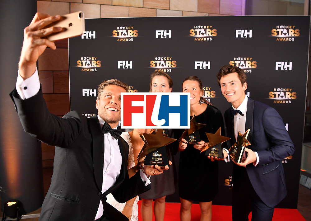 BERLIN, GERMANY - FEBRUARY 05:  The male and femail player award winners pose for a selfie during the Hockey Star Awards night at Stilwerk on February 5, 2018 in Berlin, Germany.  (Photo by Stuart Franklin/Getty Images For FIH)