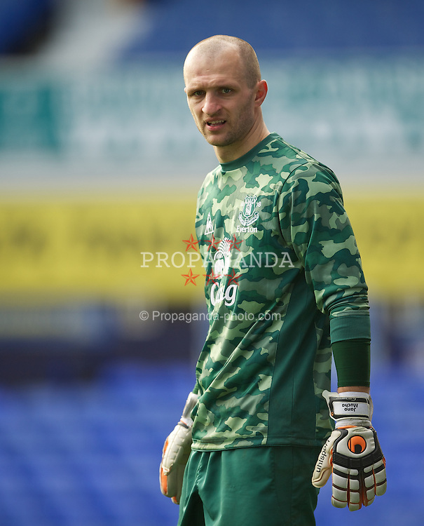 LIVERPOOL, ENGLAND - Tuesday, March 6, 2012: Everton's goalkeeper Jan Mucha in action against Liverpool during the FA Premier Reserve League match at Goodison Park. (Pic by David Rawcliffe/Propaganda)