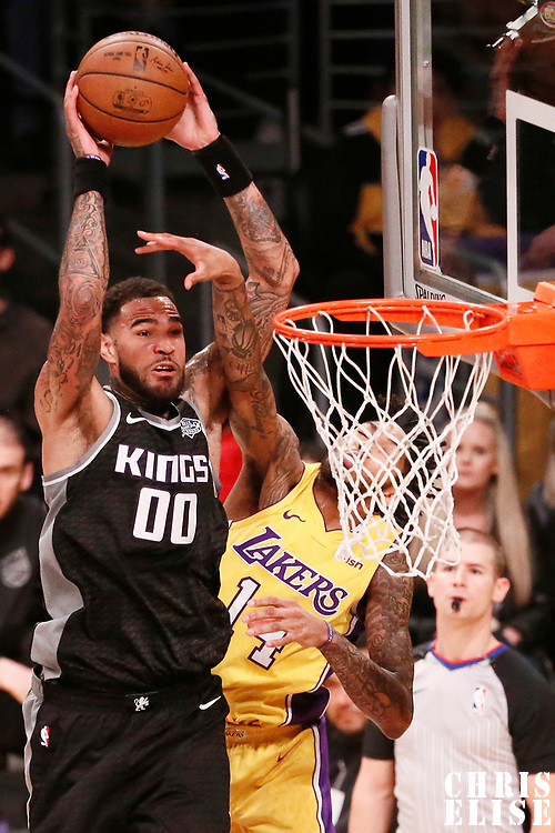 09 January 2018: Sacramento Kings center Willie Cauley-Stein (00) goes for the dunk over Los Angeles Lakers forward Brandon Ingram (14) during the LA Lakers 99-86 victory over the Sacramento Kings, at the Staples Center, Los Angeles, California, USA.