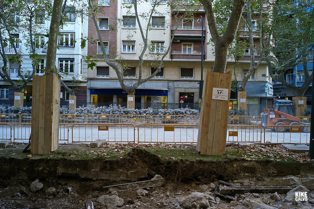Construction sites around Zaragoza for the new tramway.