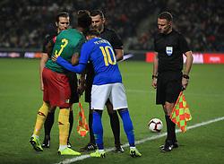 Brazil's Neymar shakes hands with Cameroon captain Gaetan Bong before the international friendly match at Stadium MK, Milton Keynes.