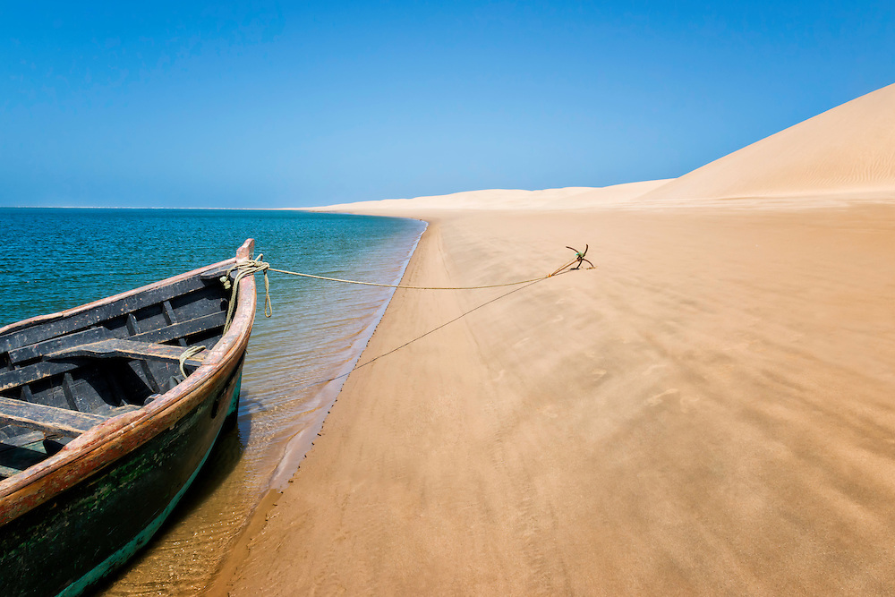 Boat at the beach of Lac Naila, Morocco.