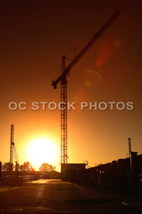 Sunset And Building Cranes