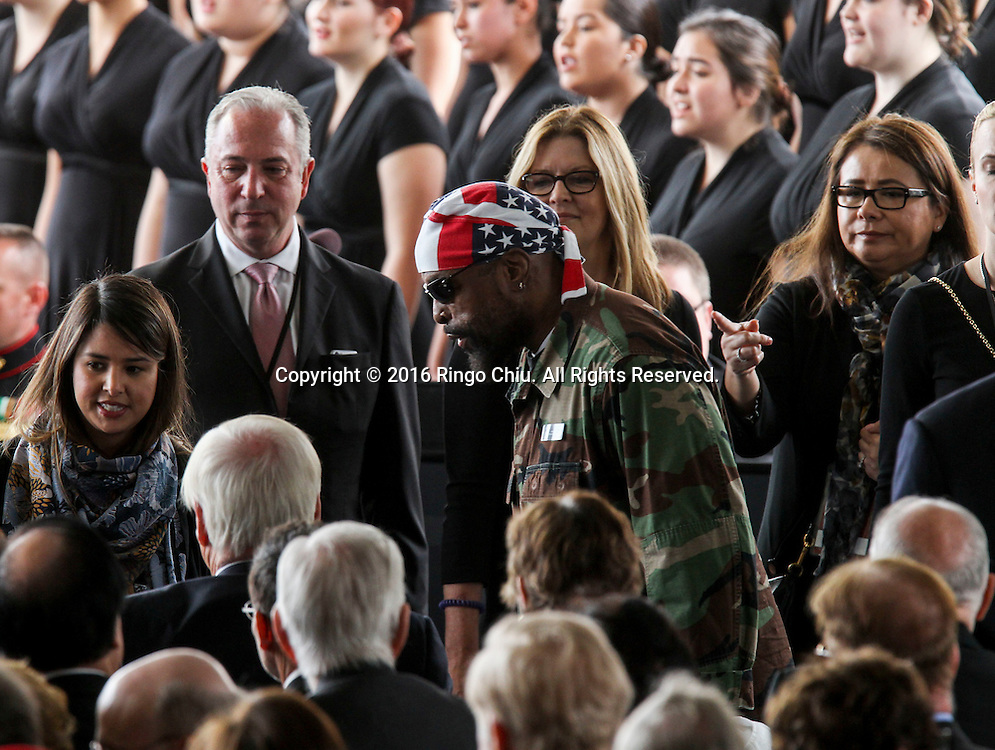 Mr.T arrival during a funeral service for the former first lady Nancy Reagan at the Ronald Reagan Presidential Library and Museum in Simi Valley, California on March 11, 2016. Reagan died of congestive heart failure in her sleep at her Bel Air home Sunday at age 94. A bout 1,000 guests from the world of politics attended the final farewell to Nancy Reagan as the former first lady is eulogized and laid to rest next to her husband at his presidential library.<br />    (Photo by Ringo Chiu/PHOTOFORMULA.com)<br /> <br /> Usage Notes: This content is intended for editorial use only. For other uses, additional clearances may be required.