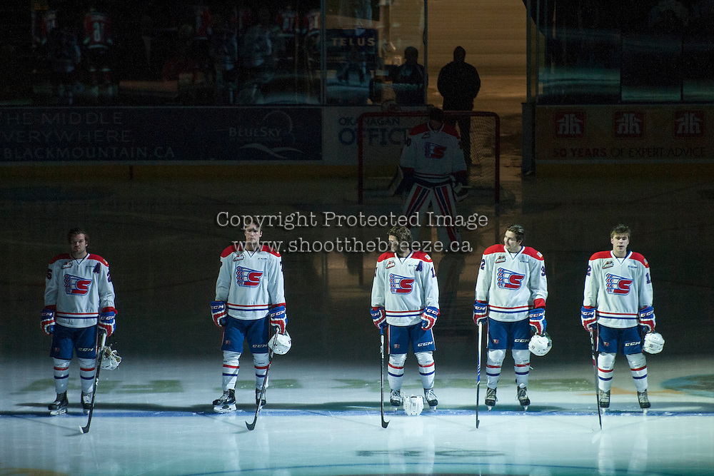 KELOWNA, CANADA - NOVEMBER 7: Riley Whittingham #25, Evan Fiala #7, Liam Stewart #11, Colton Bobyk #32 and Markson Bechtold #12 of Spokane Chiefs line up against the Kelowna Rockets on November 7, 2014 at Prospera Place in Kelowna, British Columbia, Canada.  (Photo by Marissa Baecker/Shoot the Breeze)  *** Local Caption ***  Riley Whittingham; Evan Fiala; Liam Stewart; Colton Bobyk; Markson Bechtold;