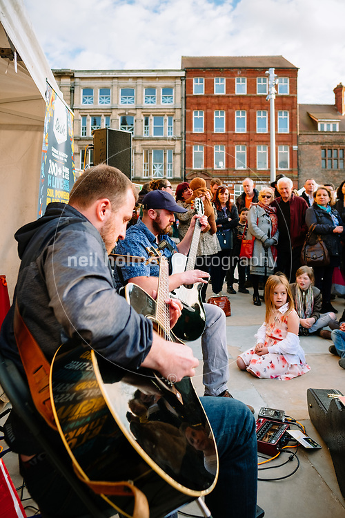 Trinity Square, Kingston Upon Hull, East Yorkshire, United Kingdom, 20 April, 2017. Pictured: Farino play the first Hull Street Food Nights at Trinity Square