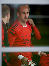LIVERPOOL, ENGLAND - Wednesday, August 18, 2010: Liverpool's goalkeeper Pepe Reina during a training session at Melwood ahead of the UEFA Europa League Play-Off 1st Leg match against Trabzonspor A.S. (Pic by: David Rawcliffe/Propaganda)