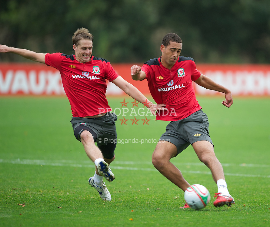 CARDIFF, WALES - Tuesday, October 4, 2011: Wales' Lewin Nyatanga and David Edwards during a training session at the Vale of Glamorgan Hotel ahead of the UEFA Euro 2012 Qualifying Group G match against Switzerland. (Pic by David Rawcliffe/Propaganda)