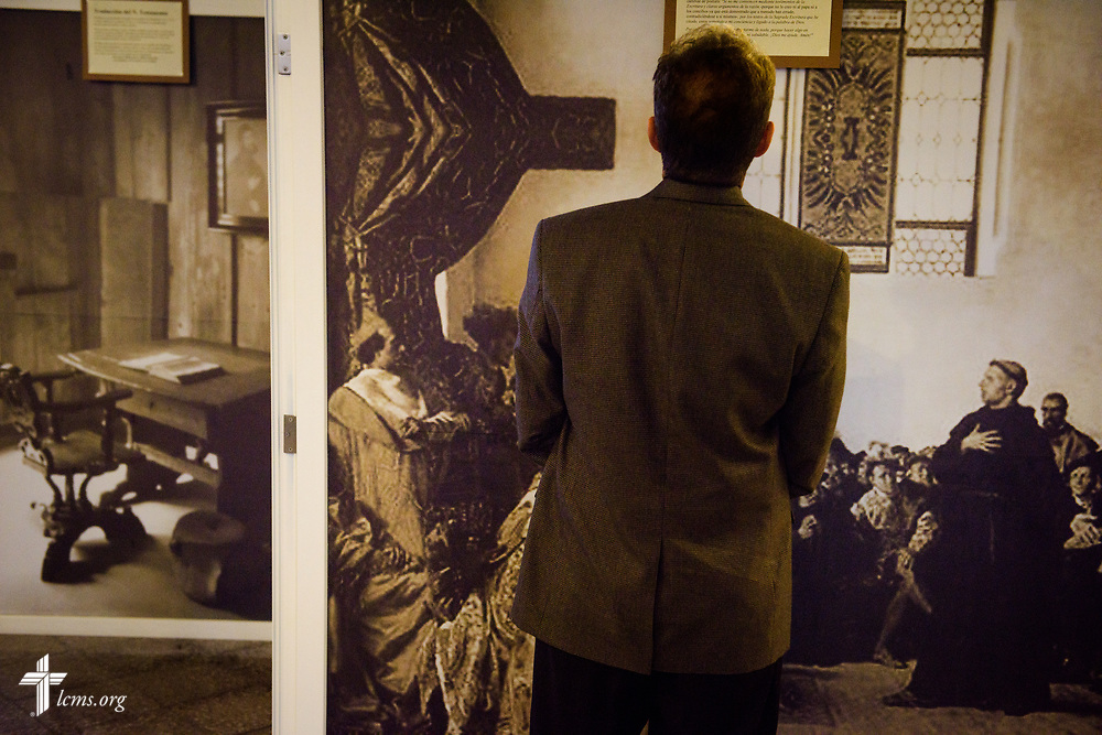 The Rev. Dan McMiller of the LCMS Office of International Mission eyes a 500th anniversary of the Reformation display at Iglesia Luterana de Cristo Rey (Christ the King) in Guatemala City, Guatemala. LCMS Communications/Erik M. Lunsford