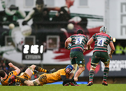 Thibaud Flament of Wasps tackles Will Spencer of Leicester Tigers - Mandatory by-line: Arron Gent/JMP - 15/02/2020 - RUGBY - Welford Road Stadium - Leicester, England - Leicester Tigers v Wasps - Gallagher Premiership Rugby