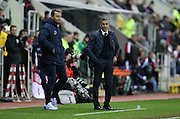 Brighton Manager, Chris Hughton and Brighton Assistant Manager, Colin Calderwood during the Sky Bet Championship match between Rotherham United and Brighton and Hove Albion at the New York Stadium, Rotherham, England on 12 January 2016.