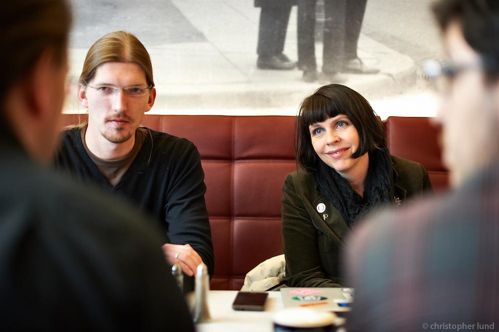 Members of the german Piraten Partei   meeting with Birgitta Jónsdóttir at Café Hressó Reykjavík.