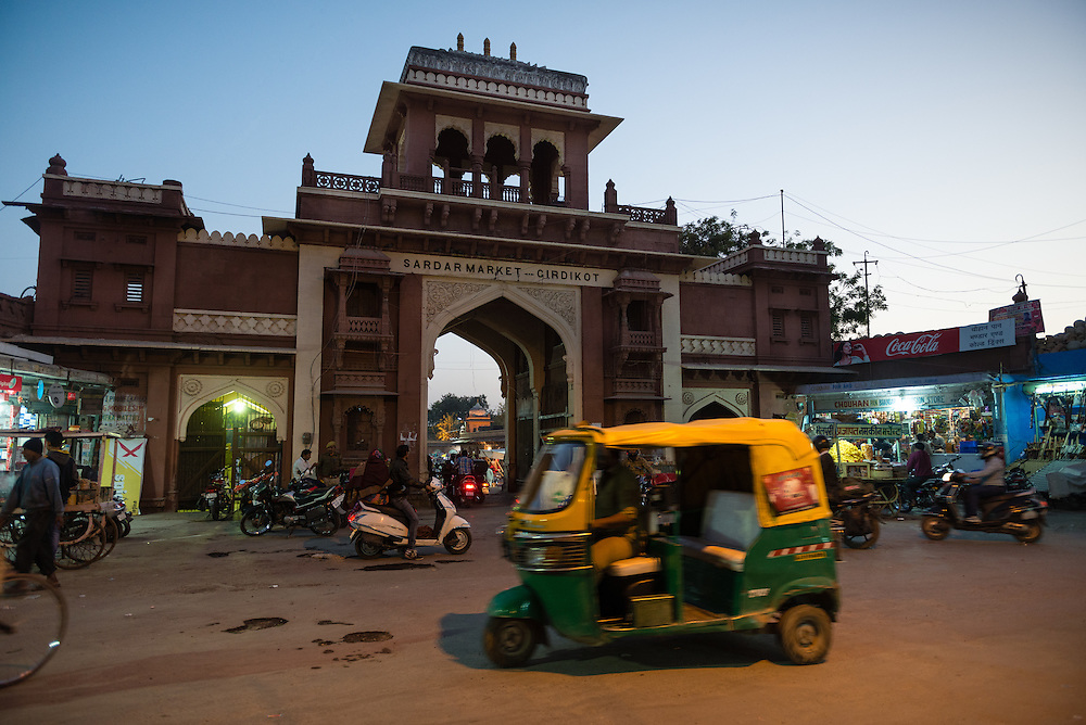 Auto rickshaw at night in Jodhpur in front of Clock Tower Market