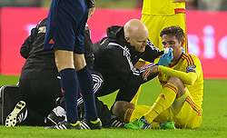 BRUSSELS, BELGIUM - Sunday, November 16, 2014: Wales' Joe Allen receives treatment from Medical Officer Doctor Jon Houghton and physiotherapist Sean Connelly during the UEFA Euro 2016 Qualifying Group B game against Belgium at the King Baudouin [Heysel] Stadium. (Pic by David Rawcliffe/Propaganda)