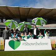 James Heappey MP, Colin Butfield Director of Campaigns for WWF and Board Member, Derek Brewer, CEO MCC, Abi Bunker, RSPB with school children from All Souls Primary School.<br /> Schoolchildren from All Souls Primary School in London join MP James Heappey and Marylebone Cricket Club (MCC) Chief Executive Derek Brewer at Lord's to launch The Climate Coalition's #ShowtheLove campaign. The annual celebration of all that we love but could lose to climate change, from cricket pitches to woodlands, and the progress we are making towards a clean and secure future. The campaign encourages people to wear and share green hearts to demonstrate their support this Valentine's Day.