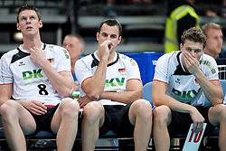 11.09.2011, O2 Arena, Prag, CZE, Europameisterschaft Volleyball Maenner, Vorrunde D, Deutschland (GER) vs Slowakei (SVK), im Bild Marcus Böhme/Boehme (#8 GER / Friedrichshafen GER), Georg Grozer (#7 GER / Rzeszow POL), Lukas Kampa (#11 GER / Bottrop GER) // during the 2011 CEV European Championship, Germany vs Slovakia at O2 Arena, Prague, 2011-09-11. EXPA Pictures © 2011, PhotoCredit: EXPA/ nph/  Kurth       ****** out of GER / CRO  / BEL ******