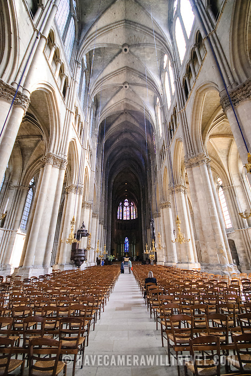 Interior of the main hall of the Reims Cathedral