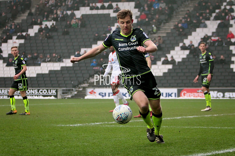 Bristol Rovers Tony Craig (25) tries to save this one from going for a corner during the EFL Sky Bet League 1 match between Milton Keynes Dons and Bristol Rovers at stadium:mk, Milton Keynes, England on 3 March 2018. Picture by Nigel Cole.