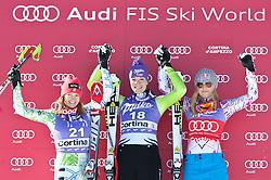 22.01.2011, Tofana, Cortina d Ampezzo, ITA, FIS World Cup Ski Alpin, Lady, Cortina, Abfahrt, im Bild Julia Mancuso (USA, #21, Platz 2), Maria Riesch (GER, #18, Platz 1) und Lindsey Vonn (USA, #22, Platz 3) // Julia Mancuso (USA, place 2), Maria Riesch (GER, place 1) and Lindsey Vonn (USA, place 3) during FIS Ski Worldcup ladies Downhill at pista Tofana in Cortina d Ampezzo, Italy on 22/1/2011. EXPA Pictures © 2011, PhotoCredit: EXPA/ J. Groder