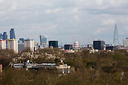 Landscape view of the city of London skyline with iconic buildings including 20 Fenchurch Street, nicknamed The Walkie Talkie, The Shard and Saint Paul's Cathedral dome taken from Primrose Hill, London, England, United Kingdom. (photo by Andrew Aitchison / In pictures via Getty Images)