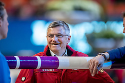 BECKER Otto (Bundestrainer Springen GER)<br /> Göteborg - Gothenburg Horse Show 2019 <br /> Parcoursbesichtigung<br /> Longines FEI World Cup™ Final I<br /> Int. jumping competition - speed and handiness<br /> Longines FEI Jumping World Cup™ Final and FEI Dressage World Cup™ Final<br /> 04. April 2019<br /> © www.sportfotos-lafrentz.de/Stefan Lafrentz