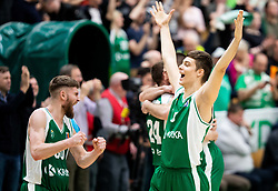 Dominik Mavra of Krka and Miha Skedelj of Krka celebrate after winning during basketball match between KK Krka and KK Petrol Olimpija in 22nd Round of ABA League 2018/19, on March 17, 2019, in Arena Leon Stukelj, Novo mesto, Slovenia. Photo by Vid Ponikvar / Sportida