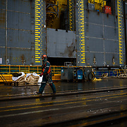 A worker wearing personal protective equipment at Hyundai Heavy Industries, Ulsan, South Korea.