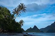 Sunuitao Peak, palm trees, Ofu Island, American Samoa