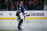 Marlies goaltender Jonathan Bernier stands during the national anthems before a game against the Rochester Americans in Rochester, New York, USA on Friday, December 4, 2015.