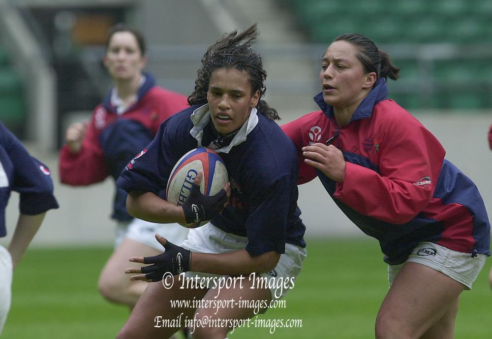 Twickenham, England, RFU Stadium, Surrey. <br /> Photo Peter Spurrier<br /> 10/05/2002<br /> Sport - Rugby - RFU Women's Rugby Team, training  at the RFU Stadium Twickenham.  [Mandatory Credit:Peter SPURRIER/Intersport images]<br /> England Women's rugby captain Paula George