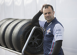 October 21, 2018 - Austin, USA - A member of the Williams Martini Racing team pauses after loading a set of tires before the start of the Formula 1 U.S. Grand Prix at the Circuit of the Americas in Austin, Texas on Sunday, Oct. 21, 2018. (Credit Image: © Scott Coleman/ZUMA Wire)