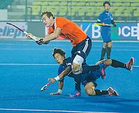 LUCKNOW (India) -  Floris Wortelboer (NED)  tijdens  de oefenwedstrijd tegen Korea voor de Junior  World Cup hockey men . COPYRIGHT KOEN SUYK