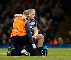 Cardiff Blues' Rhys Gill receives medical attention<br /> <br /> Photographer Simon King/Replay Images<br /> <br /> Guinness PRO14 Round 21 - Cardiff Blues v Ospreys - Saturday 28th April 2018 - Principality Stadium - Cardiff<br /> <br /> World Copyright © Replay Images . All rights reserved. info@replayimages.co.uk - http://replayimages.co.uk