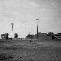 Pick up baseball game at Heyworth High School - mid to late 1970's<br /> <br /> <br /> This image was scanned from a slide, print or transparency.  Image quality may vary.  Dust and other unwanted artifacts may exist.