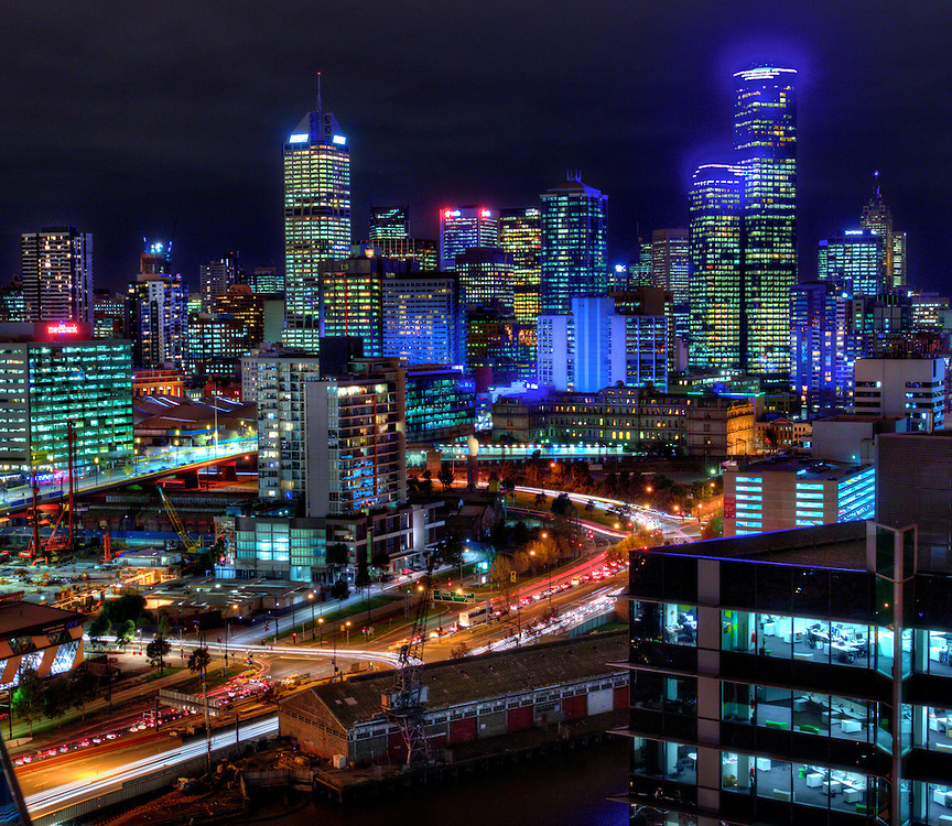 Melbourne city from 50 Lorimer Street, Yarras Edge. Melbourne HDR series, for The Age iPad App. Pic By Craig Sillitoe CSZ/The Sunday Age. .27/5/2011 melbourne photographers, commercial photographers, industrial photographers, corporate photographer, architectural photographers, This photograph can be used for non commercial uses with attribution. Credit: Craig Sillitoe Photography / http://www.csillitoe.com<br />