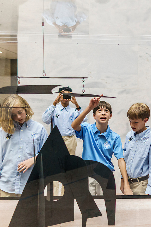 Washington, D.C. - October 07, 2016: Members of the Hyperbolics check out the &quot;Mountains and Clouds&quot; model and actual sculpture inside the Hart Senate Office Building. Hyperbolics are (L-R) Lily Brown, Rohit Rajagopalan, Elliot Turner, and Christian Thayer.<br /> <br /> The Hyperbolics are a First Lego League team based out of Sterling School in Greenville SC, who made a trip to DC ask government officials to ban lead wheel weights Friday October 7, 2016.<br /> <br /> <br /> CREDIT: Matt Roth for Earthjustice
