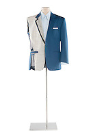 Suit on a tailor's mannequin over white background