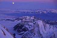 View from Mount Saentis over Mt.Hoher Kasten the Swiss Alps to the Austrian Alps, Full Moon, Appenzell Canton, Switzerland