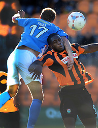 Eastleighs Paul Reid holds of Barnets John Akinde, Barnet v Eastleigh, Vanarama Conference, Saturday 4th October 2014