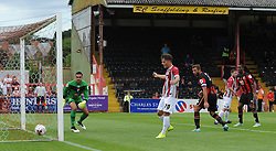 Members of both teams look on as Exeter City's David Wheeler(not pictured) scores. - Photo mandatory by-line: Harry Trump/JMP - Mobile: 07966 386802 - 18/07/15 - SPORT - FOOTBALL - Pre Season Fixture - Exeter City v Bournemouth - St James Park, Exeter, England.