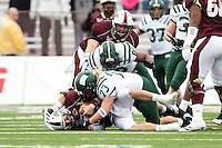 Louisiana-Monroe quarterback Kolton Browning (15) is sacked by Ohio defensive end Ty Branz. (73) during the second quarter of the Independence Bowl NCAA college football game in Shreveport, La., Friday, Dec. 28, 2012.