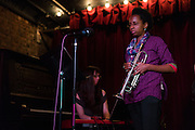 Dec. 6, 2013 - Brooklyn, NY. Brittany Anjou (l.) plays the keyboard and Jackie Coleman (r.) plays the trumpet with dawn drake & ZapOte at the Audiofiles live show in the Jalopy Theatre.  12/6/13 Photograph by Julius C. Motal/CUNY Journalism PHOTO