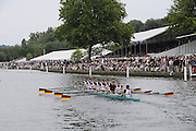 Henley, Great Britain.  Henley Royal Regatta. Ruder Club Hansa 1898 EV Dortmund, Germany, GER, row past Stewards' Enclosure, on their way to the start, of the Grand Challenge Cup. River Thames,  Henley Reach.  Royal Regatta. River Thames Henley Reach. Sunday  14:58:18  03/07/2011  [Mandatory Credit/Intersport Images] . HRR
