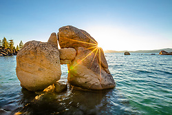 """Boulders at Lake Tahoe 52"" - Photography of a keyhole like boulder formation at Whale Beach, Lake Tahoe. Shot shortly before sunset."