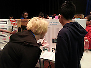 BP volunteers judge the Revere MS science fair.